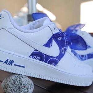 Shoes Custom Af1 Blue Bandana Poshmark